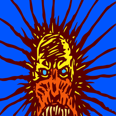Screaming mask of a monster with glowing eyes. The horror genre. Scary Halloween character. Vector illustration.