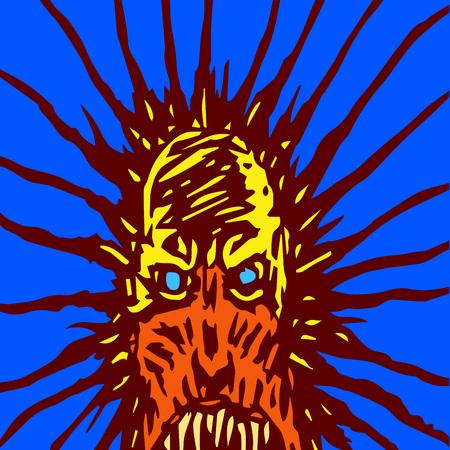 Máscara gritando de un monstruo con ojos brillantes. El género de terror. Personaje aterrador de Halloween. Ilustración de vector.