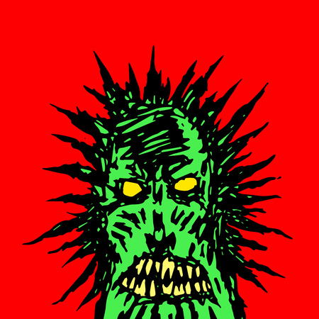 angry green face of a demon. horror genre. vector illustration