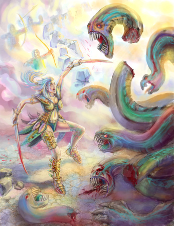 Amazon warrior with two swords cuts off the head of the dragon. Colorful picture in the genre of fantasy.