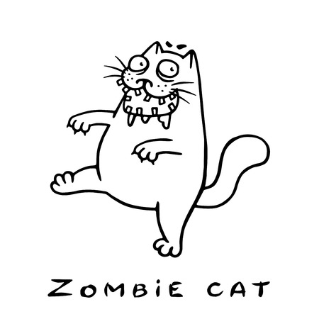 Cartoon zombie cat comes with an open mouth. Genre of horror. Vector illustration. Illustration
