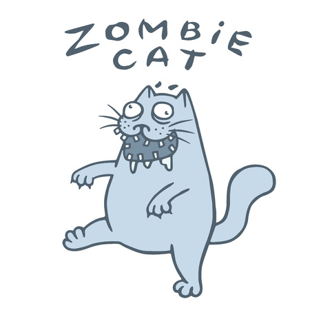 Zombie cat goes in search of the brain. Genre of horror. Nightmare character. Vector illustration. 矢量图像