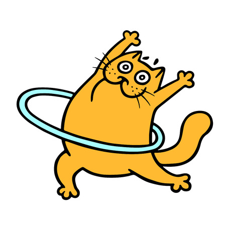 Funny orange cat aerobics with a hoop. Standing exercises. Vector illustration