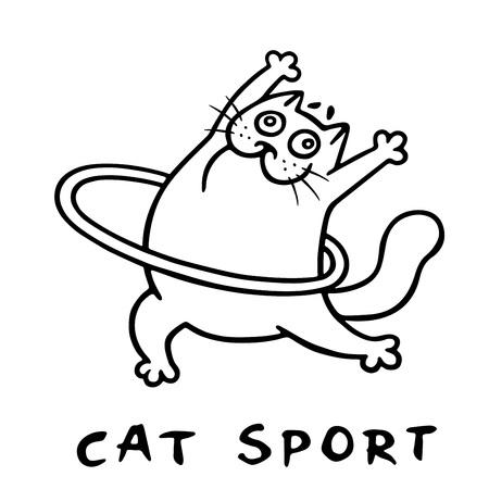 cat aerobics with hoop. standing exercises. vector illustration