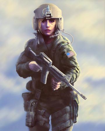 Woman soldier in a helmet and with a gun in their hands. Painted illustration in the genre of fiction. The heroic character of the helicopter pilot during the zombie apocalypse. Foto de archivo - 103043735