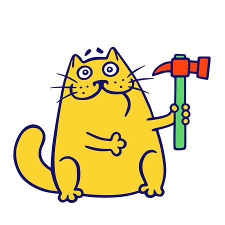 Meisterkatze hält einen Hammer. Bauwerkzeuge. Vektorgrafik
