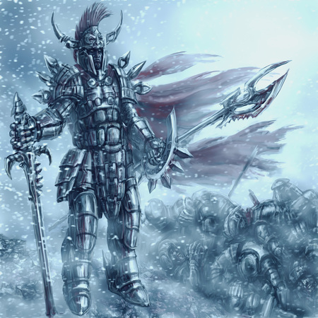 Invincible knight in dark bloody armor with a spear and sword. Colorful picture in the genre of fantasy.