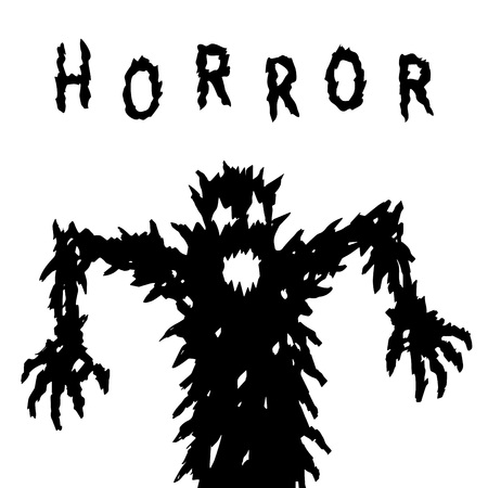 Dark silhouette rises rushes to attack. Scary character in horror genre. Vector illustration.
