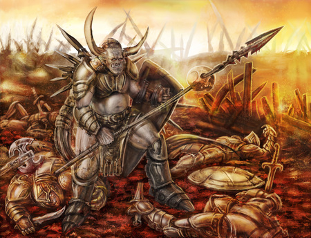 A terrible orc with spear is standing on the battlefield. Genre of fantasy.