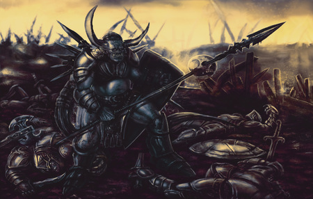 Knight monster armed with spear in the background of the battlefield. Colorful picture in genre of fantasy. 写真素材