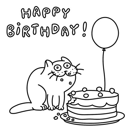 funny cat with a cake and a balloon congratulates happy birthday Pig Cake funny cat with a cake and a balloon congratulates happy birthday stock photo 103684778