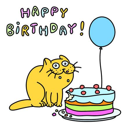 Funny cat with a cake and a balloon congratulates. Happy Birthday Banco de Imagens