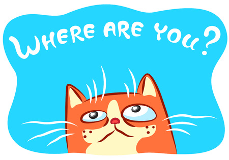 Lonely cat illustration. Funny cheerful pet Stock Photo