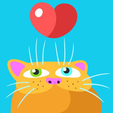 Favorite Orange Flat Cat. Valentine's Day. Blue Background
