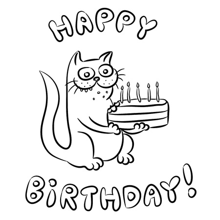 Cat congratulates Happy Birthday and present a cake Banco de Imagens