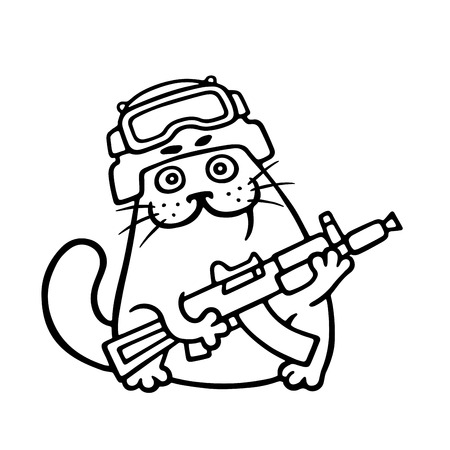 Fighting cat in helmet and with gun. Special forces. Vector illustration.