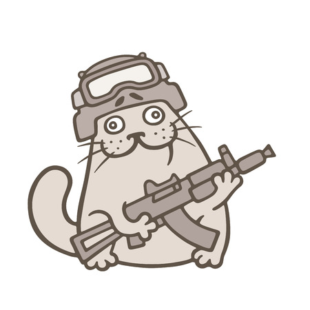 cute fat cat is swat fighter. special forces and ops. vector illustration