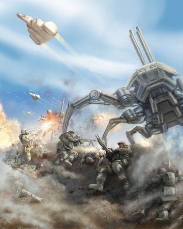 Soldiers repel the attack of the giant spider robot. Science fiction genre. 스톡 콘텐츠