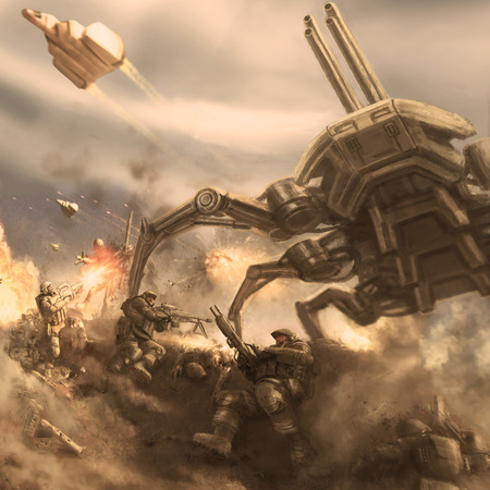 Attack of the giant alien spider robot. Science fiction genre. 스톡 콘텐츠