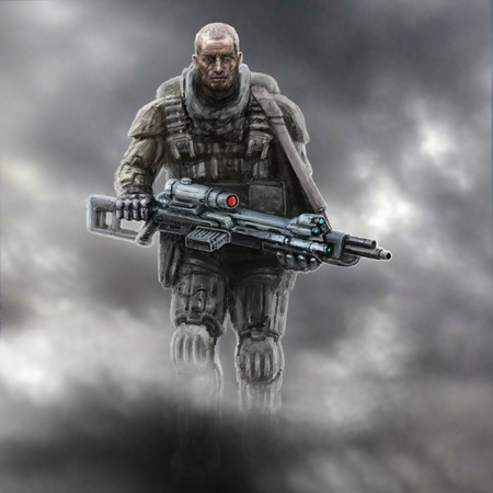 A lonely soldier walks into the smoke with a heavy gun. Science fiction genre.