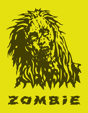 Dreadful head of zombie girl. Vector illustration. Yellow background