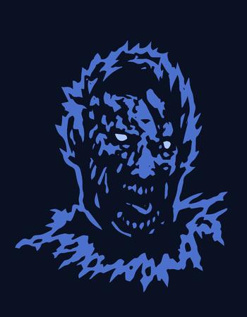 Frenzy zombie head. Black background. Vector illustration Ilustración de vector