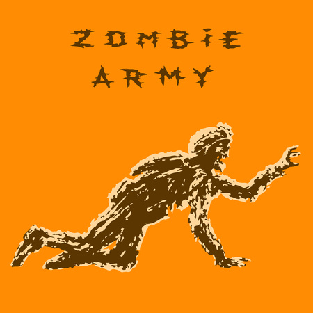 zombie soldier in helmet is creeps on all fours. genre of horror. vector illustration. Illustration