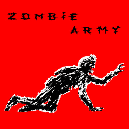 Black silhouette a zombie soldier in helmet is creeps on all fours. Scary monster character profile. Genre of horror. Vector illustration.