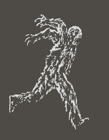 Zombie soldier runs with his hands up behind his back. Zombie army. The horror genre. Vector illustration. Illustration