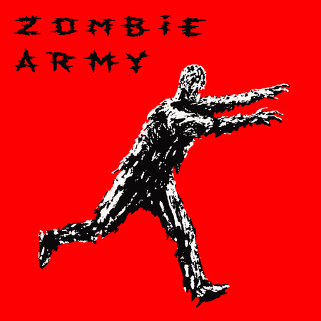 Zombie soldier run with arms outstretched forward. Zombie army. The horror genre. Vector illustration.