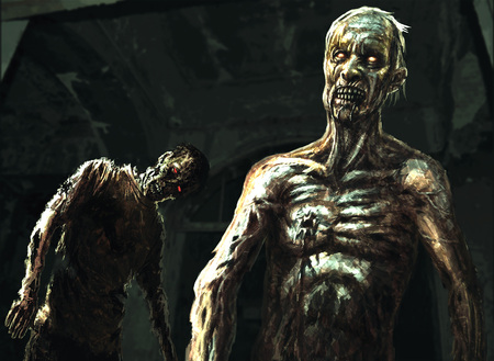 Two zombies stand in the corridor of an abandoned hospital. Illustration in genre of horror.
