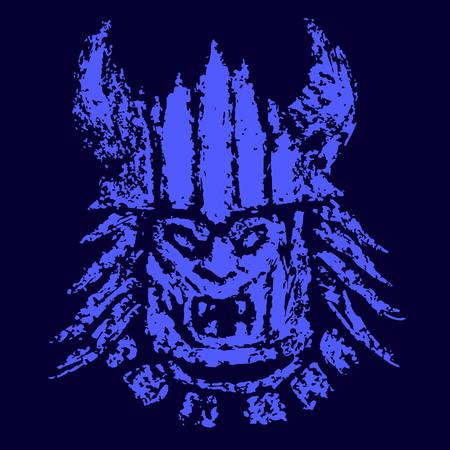 Blue face demon mask. Vector illustration. Genre of horror. Illustration