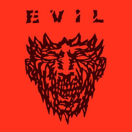 Evil monster face. Angry mask in horror genre. Vector illustration. Illustration