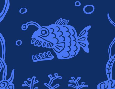 Fish angler on a blue background. Undersea nature. Vector illustration. Illustration