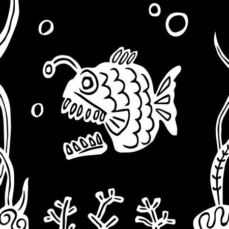 Funny carnivorous predatory deep-rooted fish angler. Undersea world. Vector illustration
