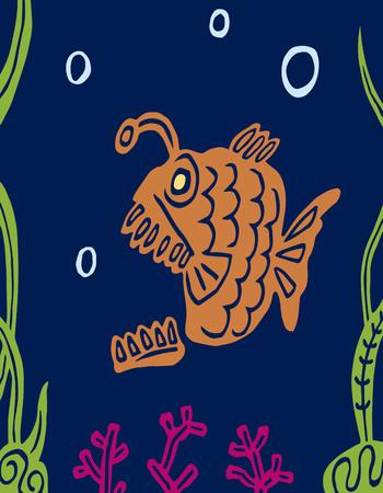 Cartoon carnivorous predatory fat fish. Lophius piscatorius. Undersea nature. Vector graphics. Illustration