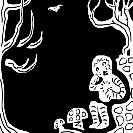The boy lost his way in the forest and cries. Black and white graphics. Vector illustration.
