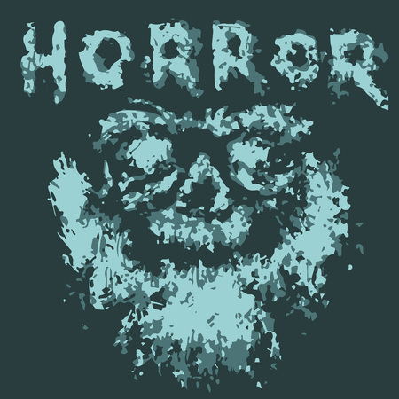 Horrible bearded ghost face of Santa. Vector illustration. Scary monster charact