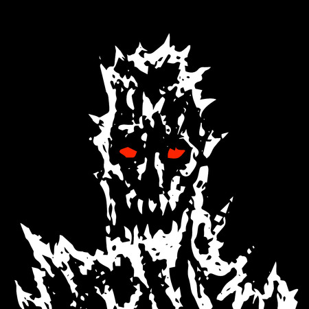 Satanic monster face with sharp thorns. Vector illustration. Scary demon head character. Genre of horror.