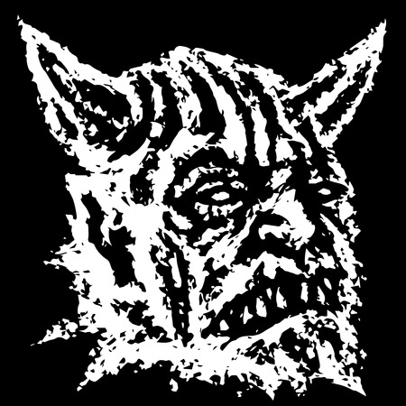 Scary head of horned demon with fangs. Vector illustration. Genre of horror. Scary monster character