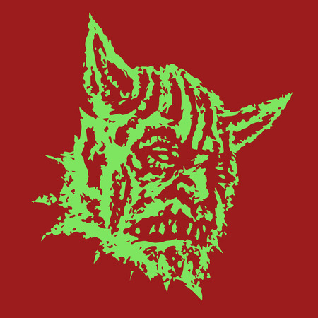 Scary head of horned demon with protruding fangs. Vector illustration. Genre of horror.