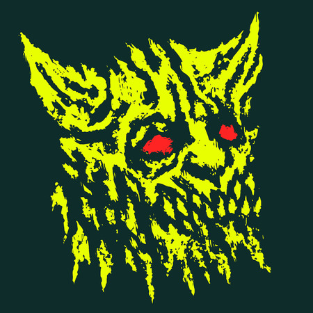 Scary head of horned demon. Vector illustration. Genre of horror. Scary monster character Иллюстрация