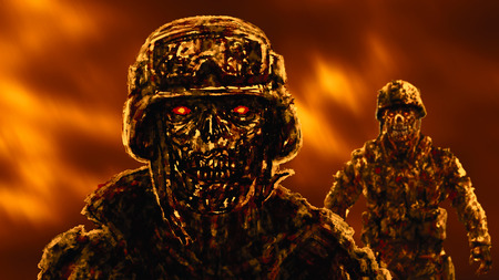 Grim zombie soldiers against the raging fire. Illustration in genre of horror.