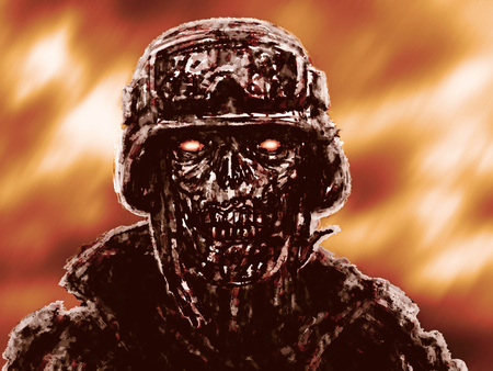 Grim zombie soldiers against the raging fire. Illustration in horror genre .