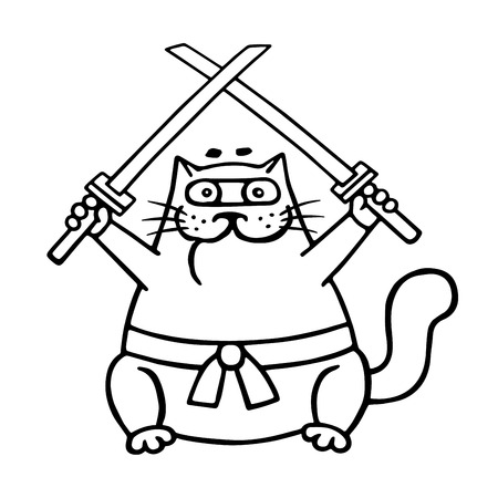 Fat ninja cat with two crossed swords. Vector illustration. Funny cute contour cartoon.
