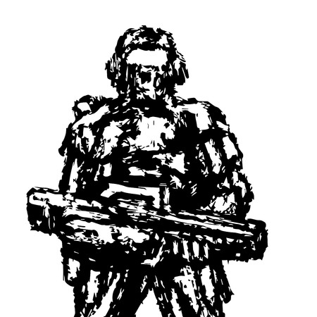 Soldier standing with assault rifle. Grunge style. Vector graphics. Illustration