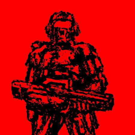 Soldado de pie con rifle de asalto. Estilo grunge. Gráficos vectoriales. Color de fondo rojo. Ilustración de vector