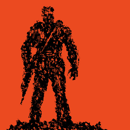 Silhouette of soldier with rifle pointing down. Grunge style. Combat operations. Vector illustration. Red background color. Ilustração
