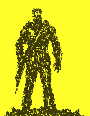 Silhouette of soldier with rifle pointing down. Combat operations. Yellow background color. Vector illustration.
