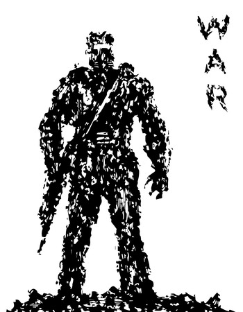 Silhouette of soldier with rifle pointing down. Grunge style. Combat operations. Vector illustration.